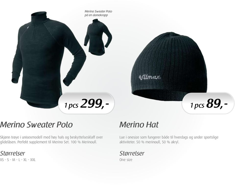 Perfekt supplement til Merino Set. 100 % Merinoull.