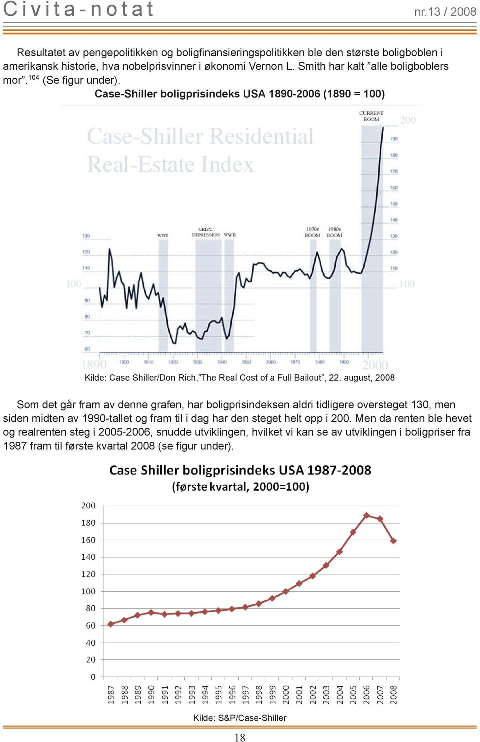 Case-Shiller boligprisindeks USA 1890-2006 (1890 = 100) Kilde: Case Shiller/Don Rich, The Real Cost of a Full Bailout, 22.