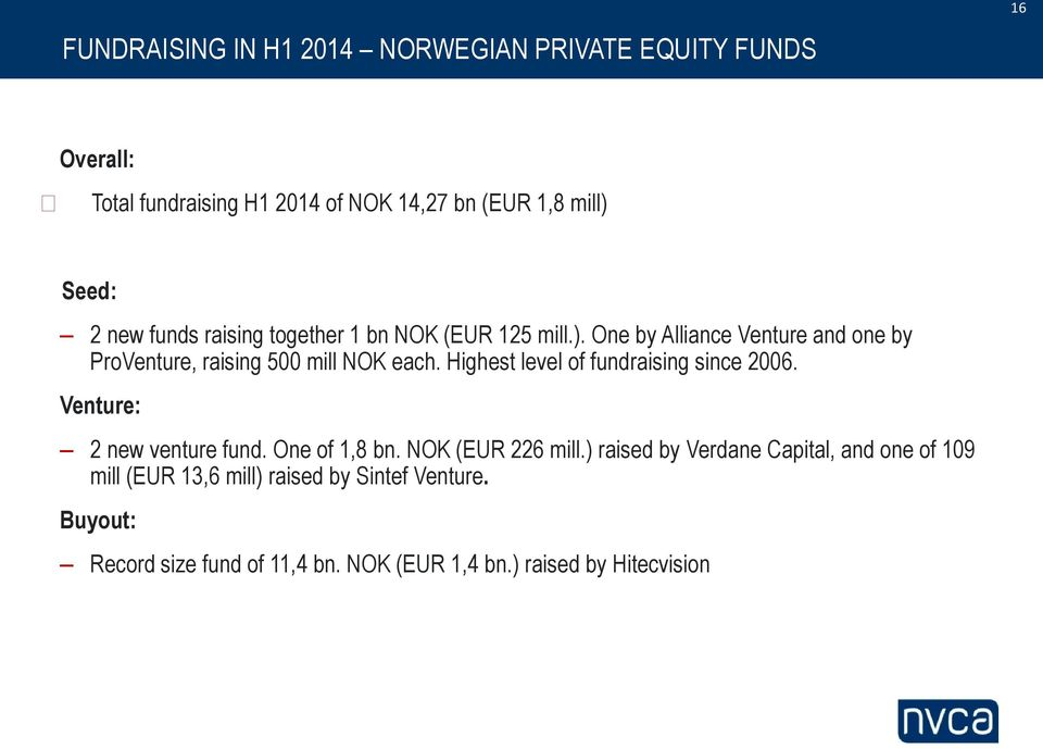 Highest level of fundraising since 2006. Venture: 2 new venture fund. One of 1,8 bn. NOK (EUR 226 mill.