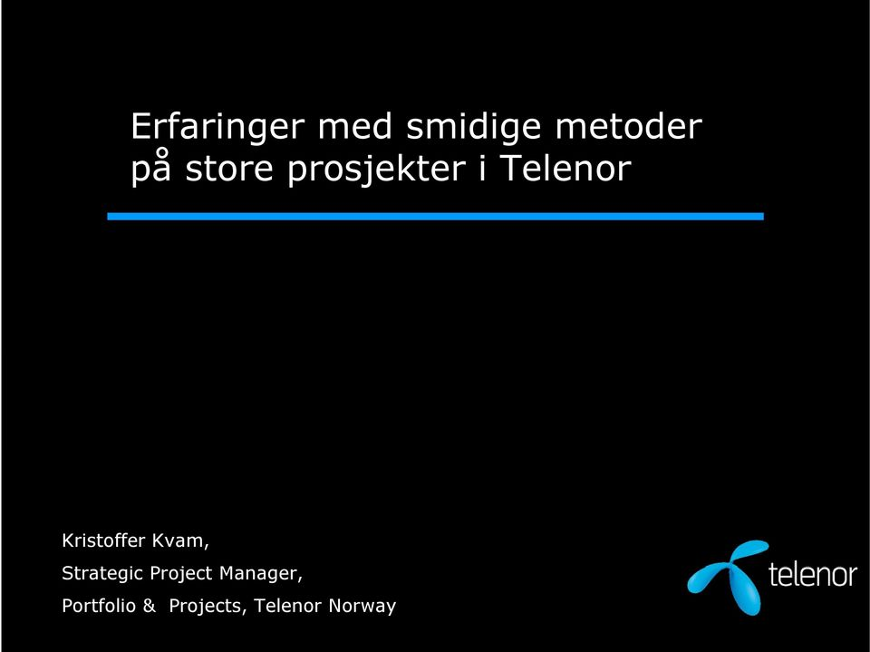 Kristoffer Kvam, Strategic Project