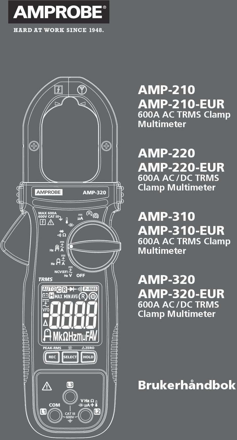 AMP-310 AMP-310-EUR 600A AC TRMS Clamp Multimeter