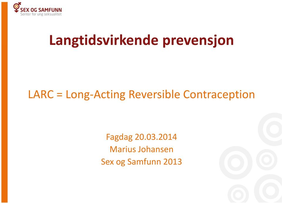 Contraception Fagdag 20.03.