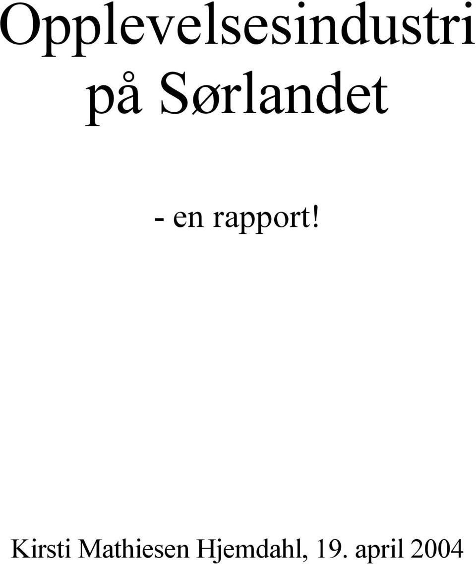 rapport!