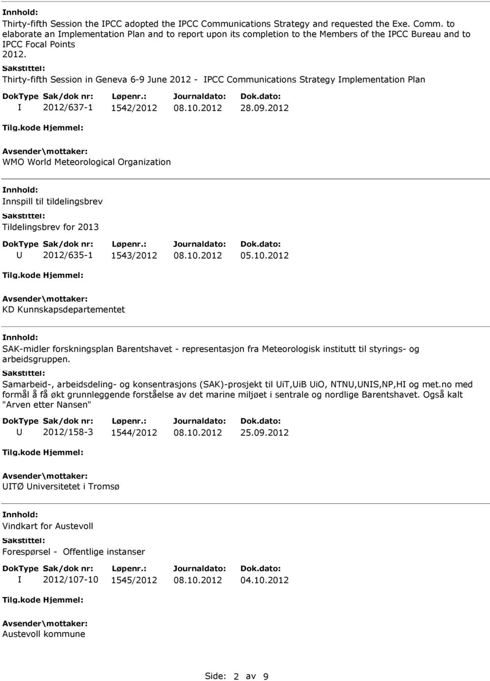 2012 WMO World Meteorological Organization nnspill til tildelingsbrev Tildelingsbrev for 2013 2012/635-1 1543/2012 05.10.