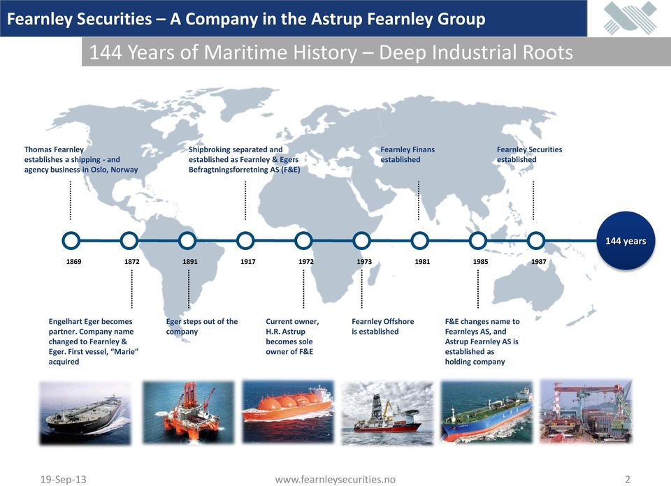 1917 1972 1973 1981 1985 1987 Engelhart Eger becomes partner. Company name changed to Fearnley & Eger. First vessel, Marie acquired Eger steps out of the company Current owner, H.R.