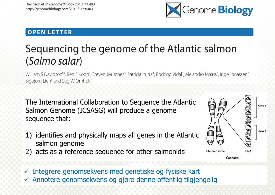 the Atlantic salmon genome 2) acts as a reference sequence for other salmonids Integrere