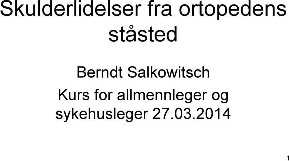 Salkowitsch Kurs for