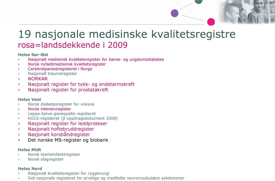 intensivregister Leppe-kjeve-ganespalte registeret KOLS-registeret (jf oppdragsdokument 2008) Nasjonalt register for leddproteser Nasjonalt hoftebruddregister Nasjonalt korsbåndregister Det norske