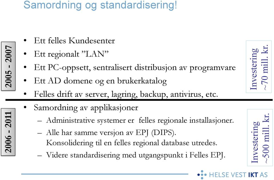 Felles drift av server, lagring, backup, antivirus, etc.
