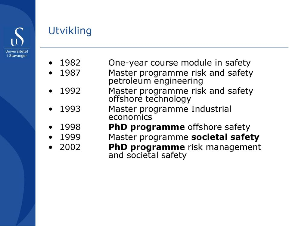 technology 1993 Master programme Industrial economics 1998 PhD programme offshore