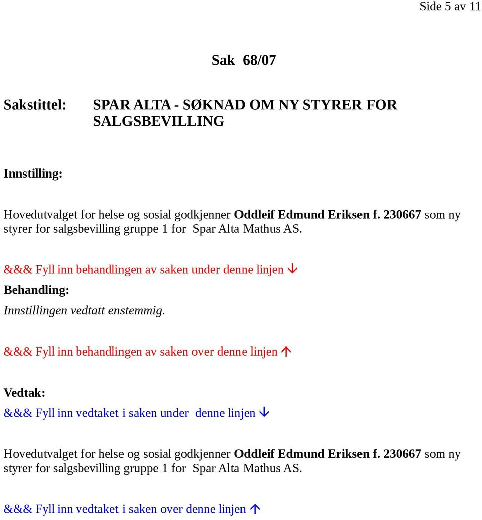 230667 som ny styrer for salgsbevilling gruppe 1 for Spar Alta Mathus AS.