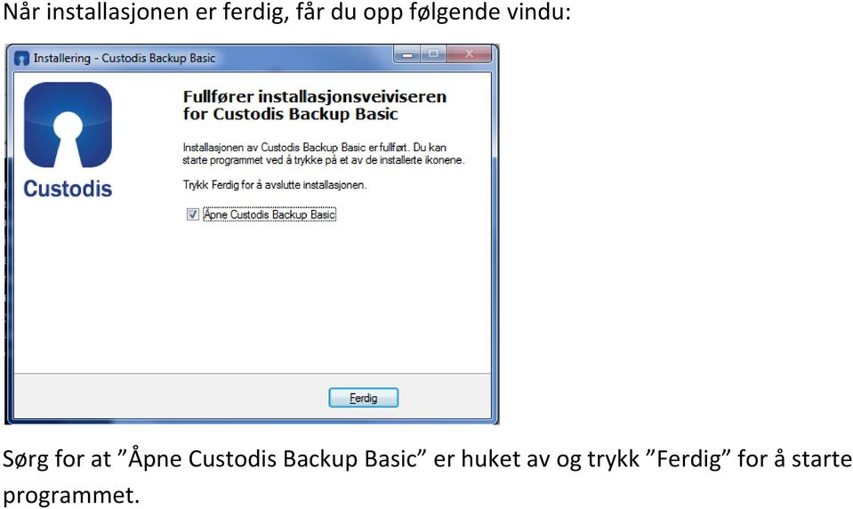 Custodis Backup Basic er huket av og