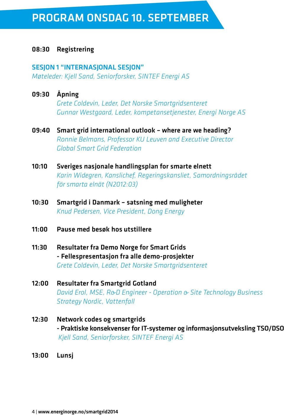 Leder, kompetansetjenester, Energi Norge AS 09:40 Smart grid international outlook where are we heading?