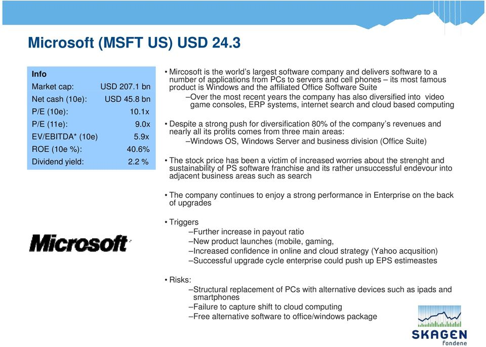 1 bn product is Windows and the affiliated Office Software Suite Net cash (10e): USD 45.