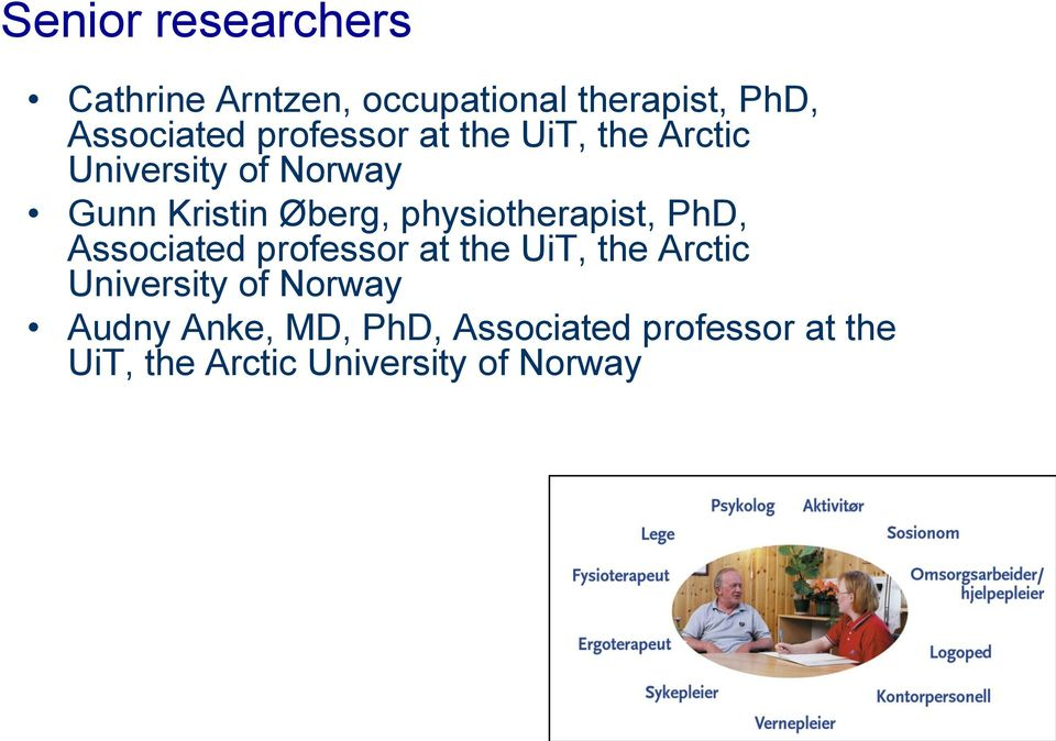 physiotherapist, PhD, Associated professor at the UiT, the Arctic University of