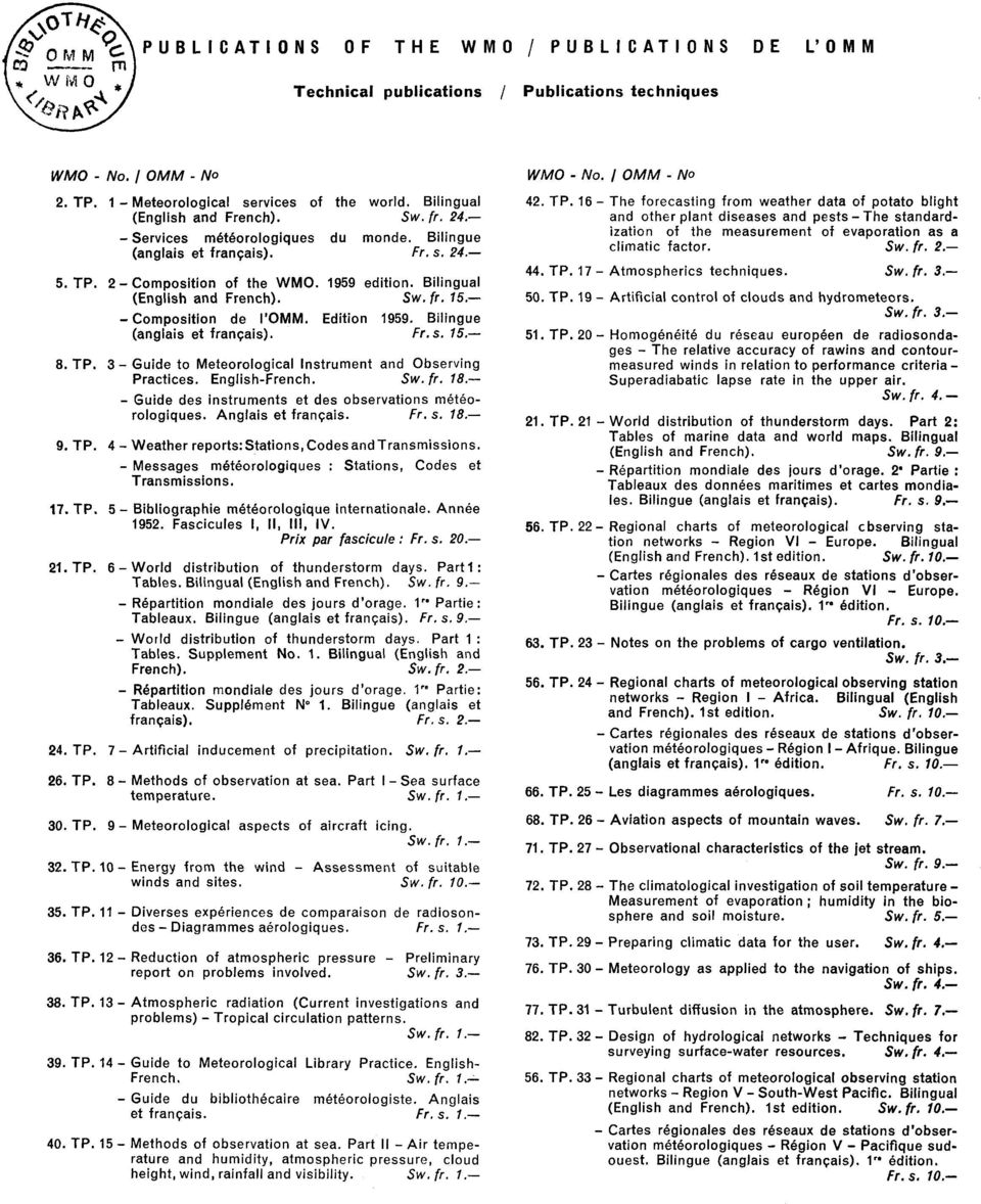 Anglis et frcis. Fr.. 8. 9. T. Wether reports:ttions, odesdtrsmiions. Meges meteorologiques : ttions, odes et Trsmiions. 7. T. Bibliogrphie meteorologique interntionle. Annee 9.
