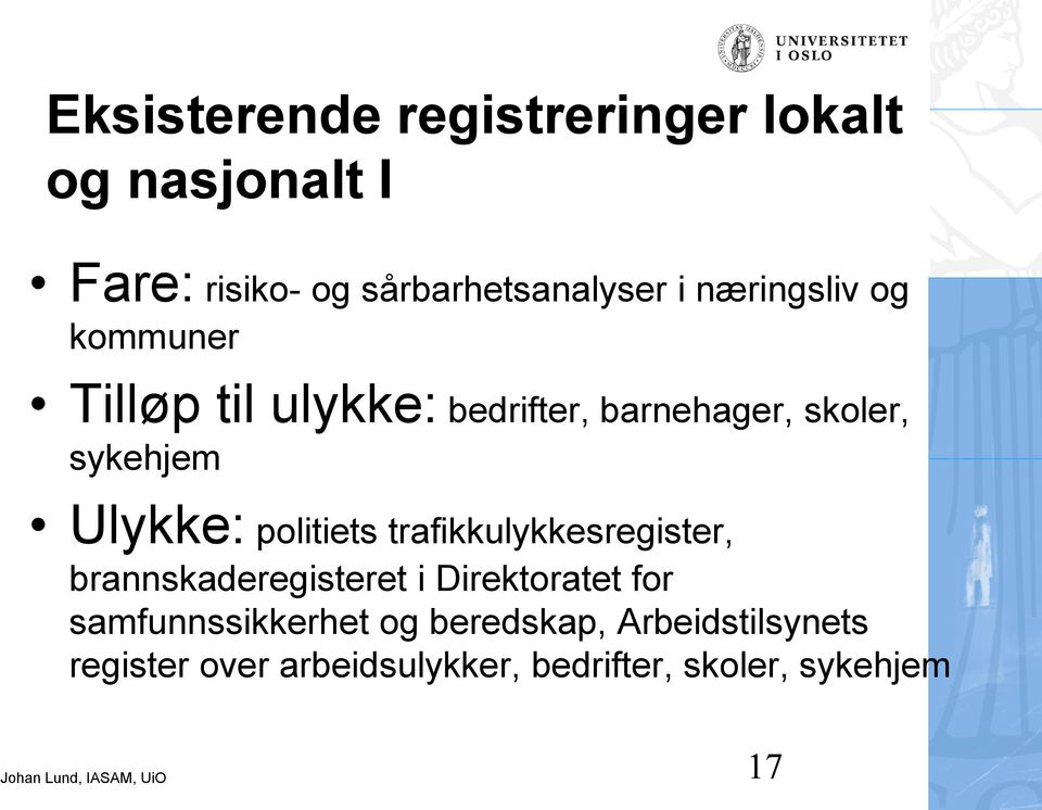 politiets trafikkulykkesregister, brannskaderegisteret i Direktoratet for
