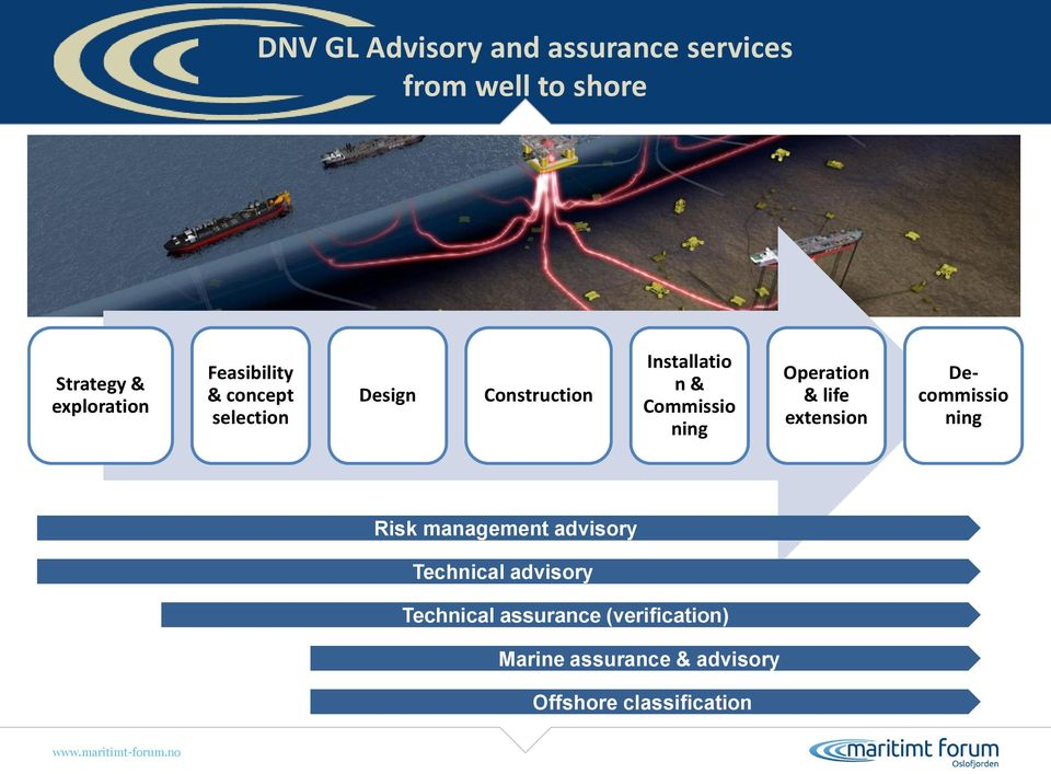 Operation & life extension Decommissio ning Risk management advisory Technical