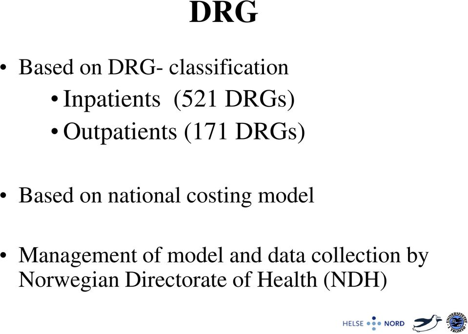 national costing model Management of model and