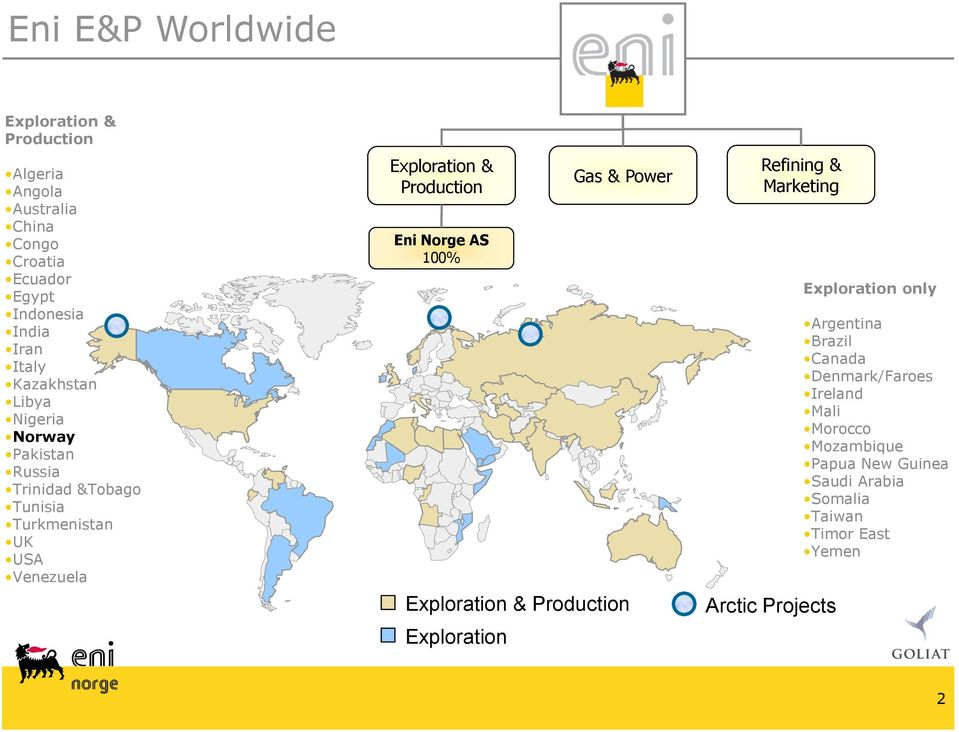 Production Eni Norge AS 100% Exploration Gas & Power Exploration & Production Refining & Marketing Arctic Projects Exploration