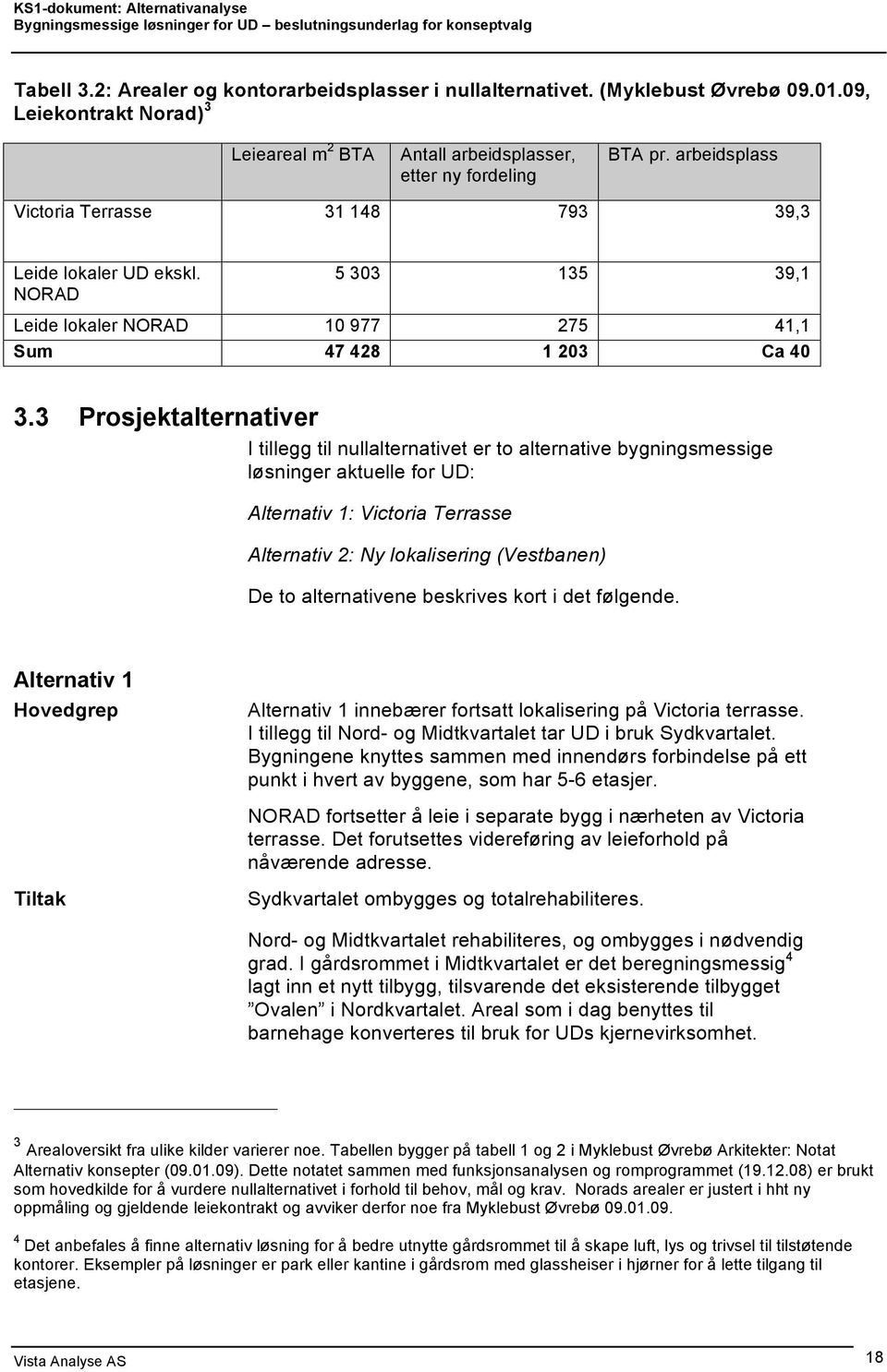 3 Prosjektalternativer I tillegg til nullalternativet er to alternative bygningsmessige løsninger aktuelle for UD: Alternativ 1: Victoria Terrasse Alternativ 2: Ny lokalisering (Vestbanen) De to