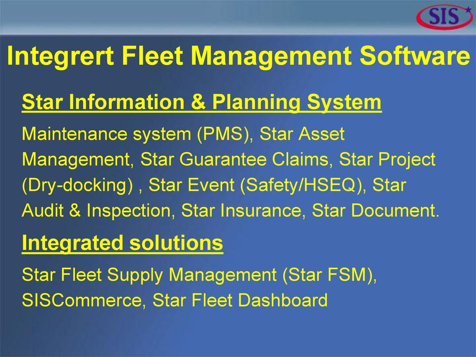 (Dry-docking), Star Event (Safety/HSEQ), Star Audit & Inspection, Star Insurance, Star