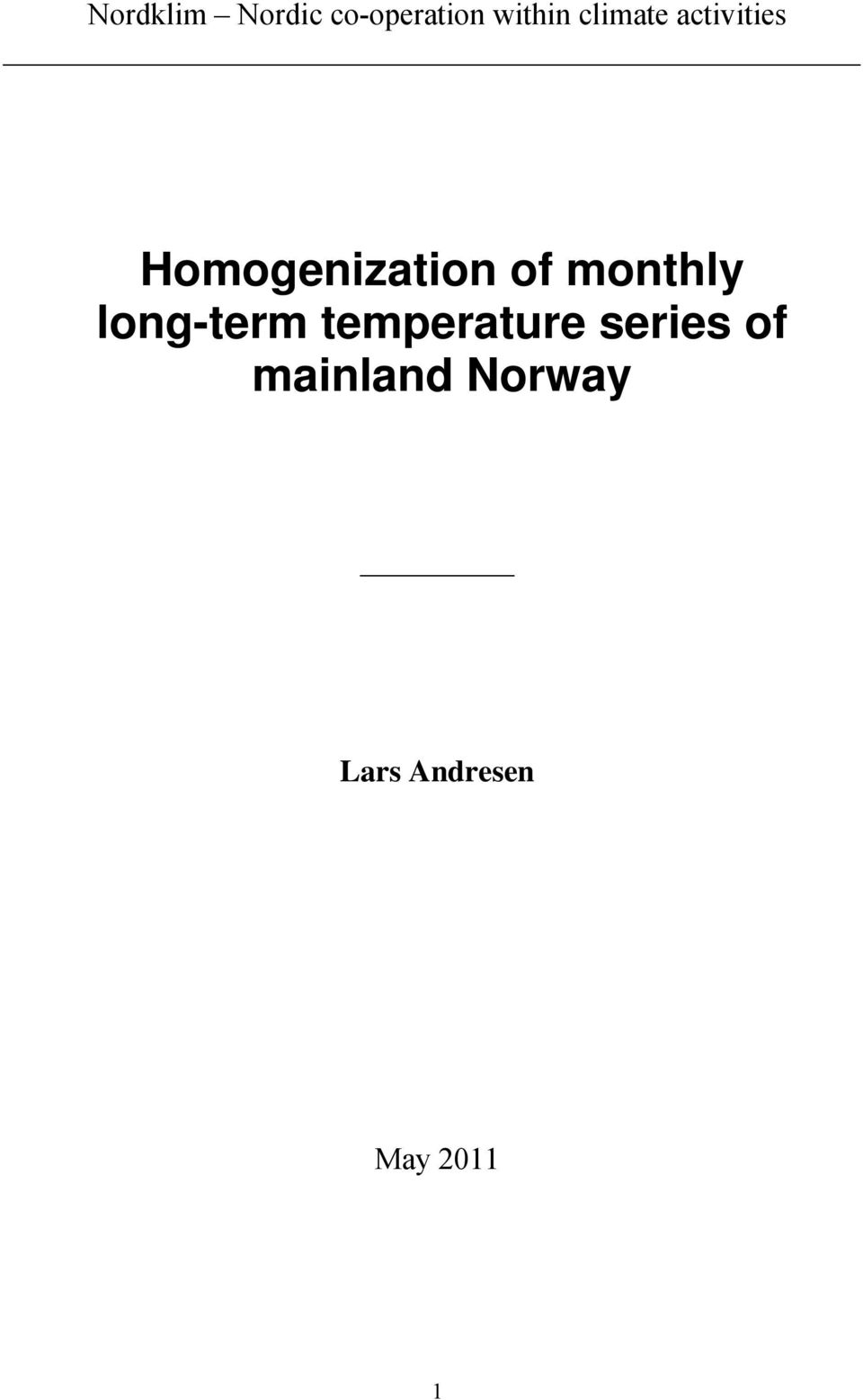 monthly long-term temperature series