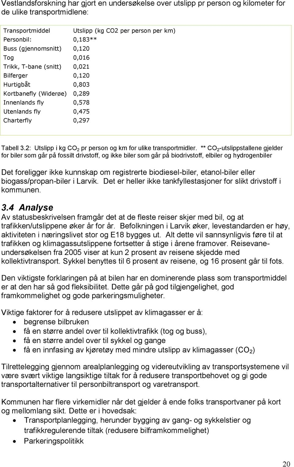 2: Utslipp i kg CO 2 pr person og km for ulike transportmidler.