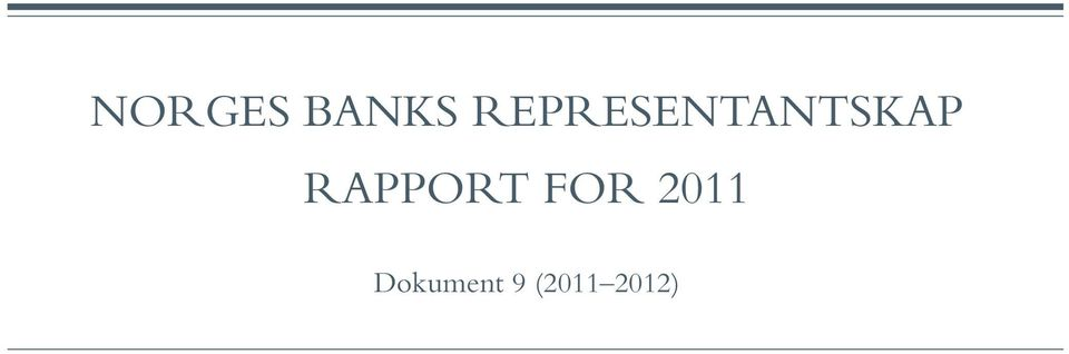 RAPPORT FOR 2011