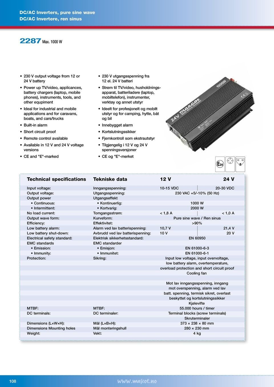applications and for caravans, boats, and cars/trucks Remote control available voltage versions 230 V utgangsspenning fra 12 el.