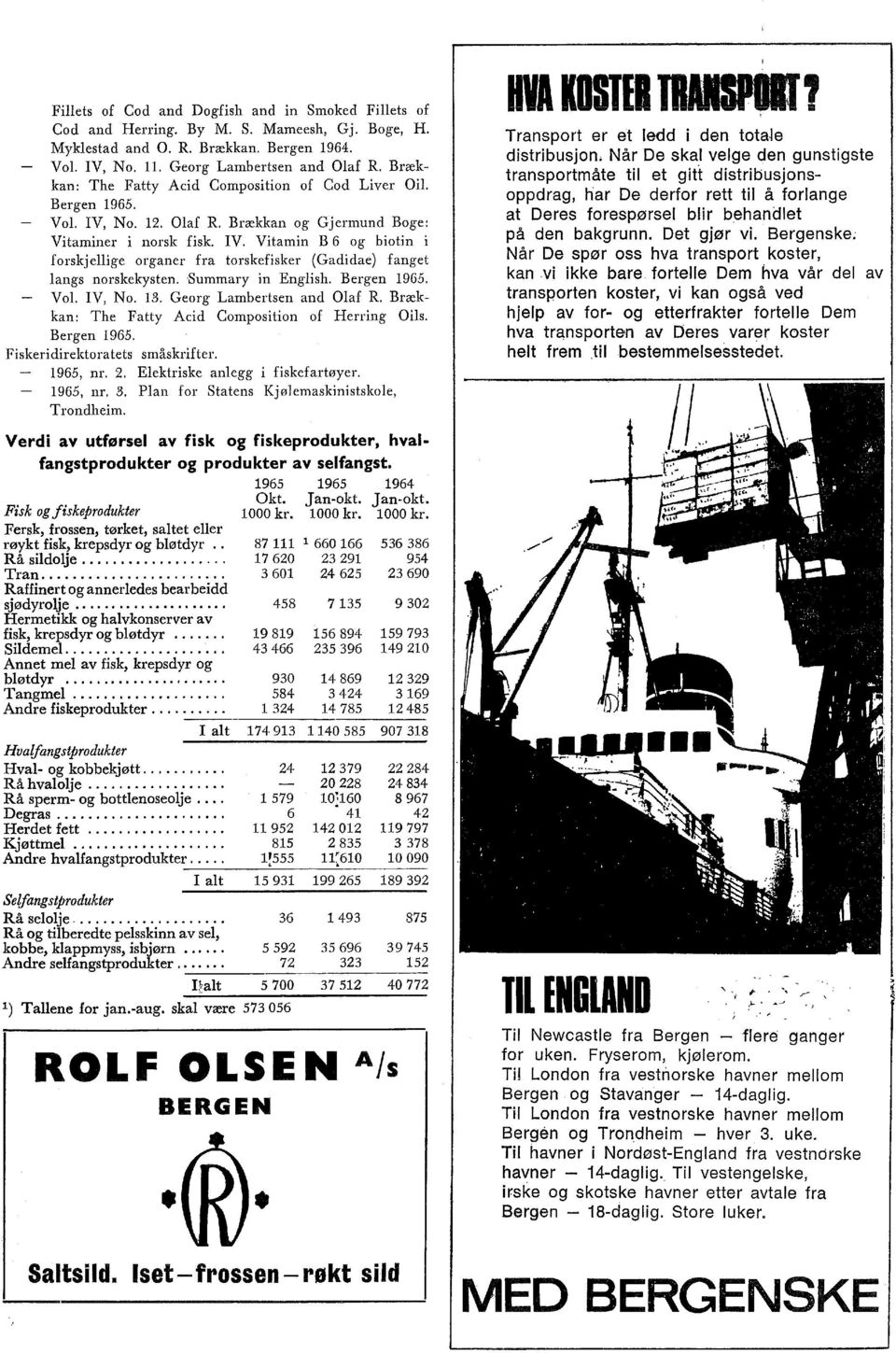 Summary in Engish. Bergen 1965. Vo. IV, No. 13. Georg Lambertsen and Oaf R. Brækkan: The Fatty Acid Composition of Herring Ois. Bergen 1965. Fiskeridirektoratets småskrifter. 1965, nr. 2.