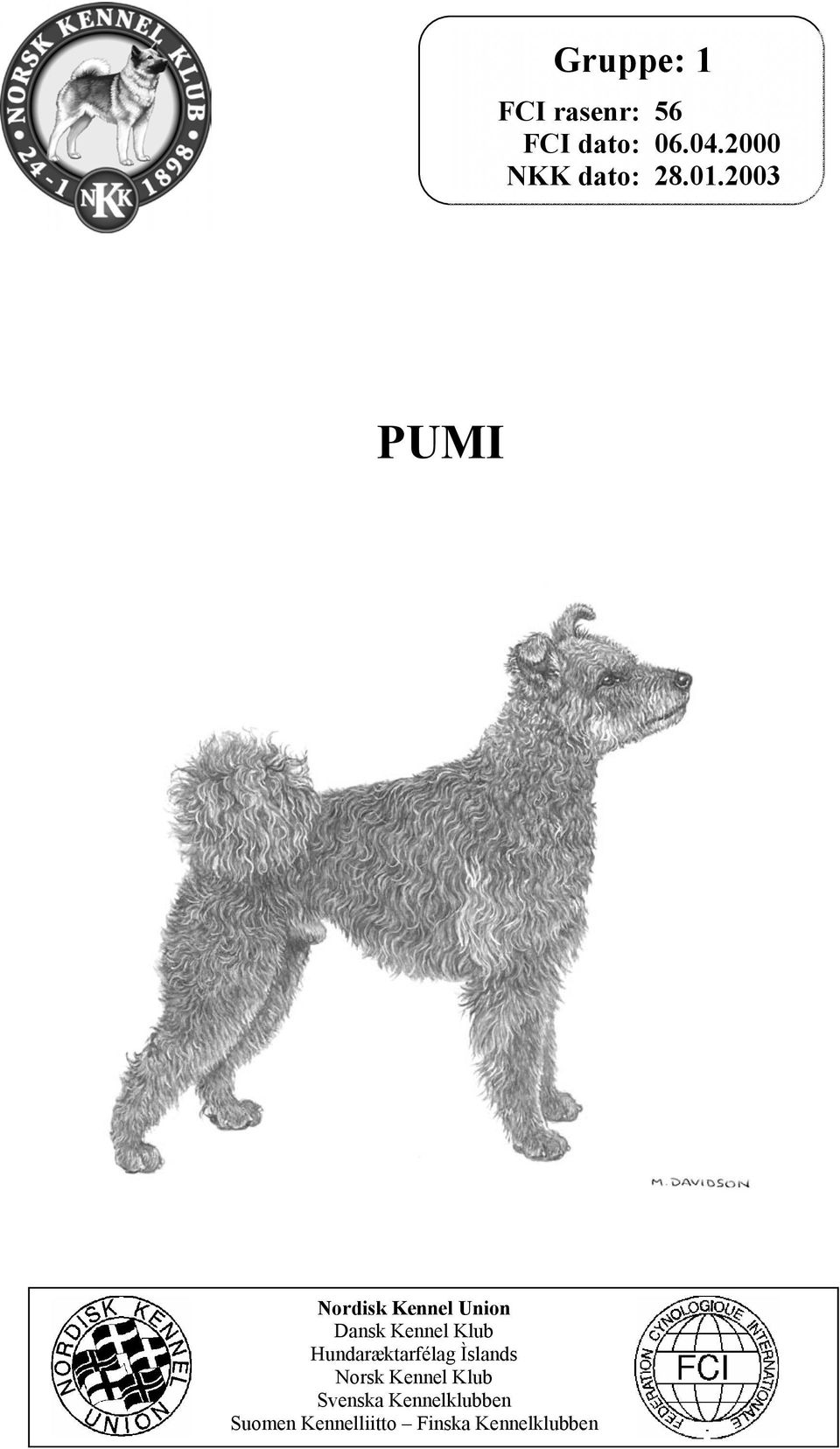 2003 PUMI Nordisk Kennel Union Dansk Kennel Klub