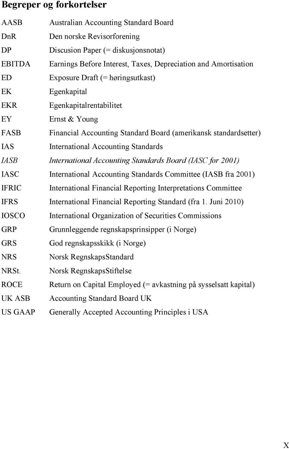 Accounting Standards IASB International Accounting Standards Board (IASC før 2001) IASC International Accounting Standards Committee (IASB fra 2001) IFRIC International Financial Reporting