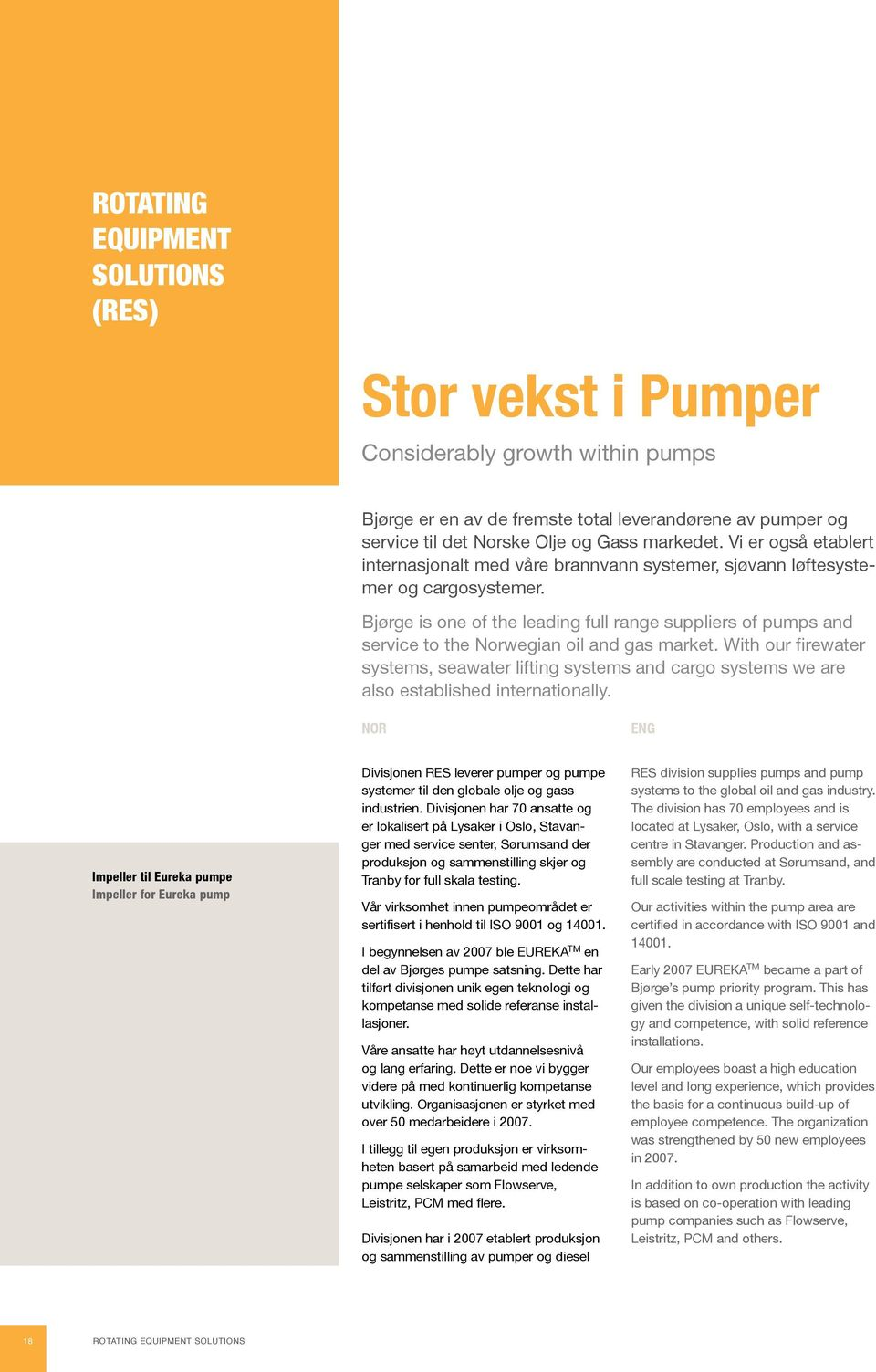 Bjørge is one of the leading full range suppliers of pumps and service to the Norwegian oil and gas market.