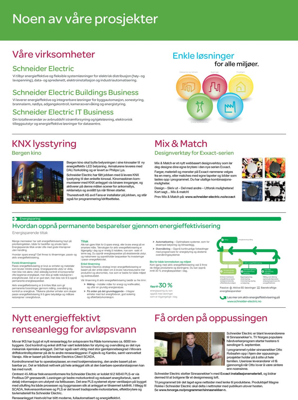 Datasentre og nettverk Bygninger Privathjem Intelligent Energy Schneider Electric Buildings Business Vi leverer energieffektive og integrerbare løsninger for byggautomasjon, sonestyring, brannalarm,