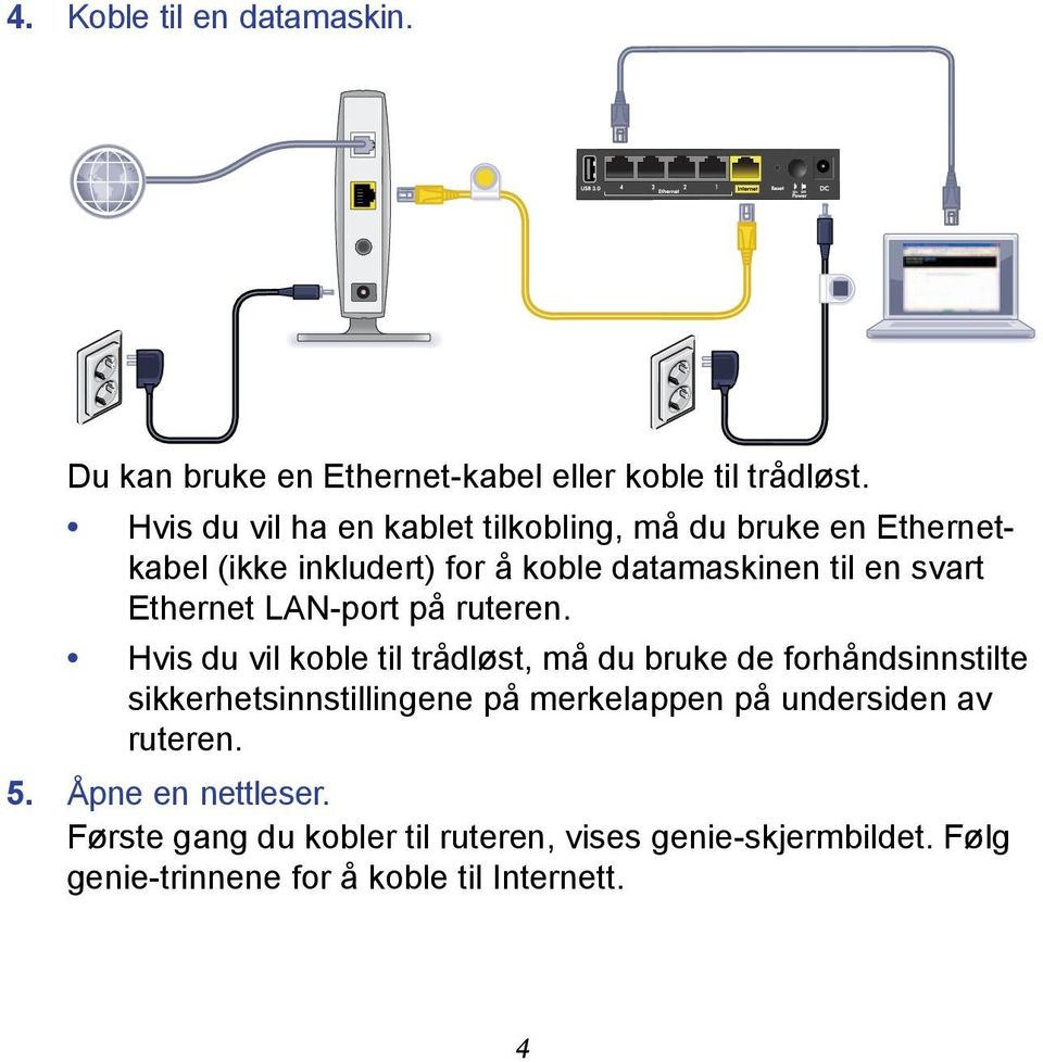 Ethernet LAN-port på ruteren.