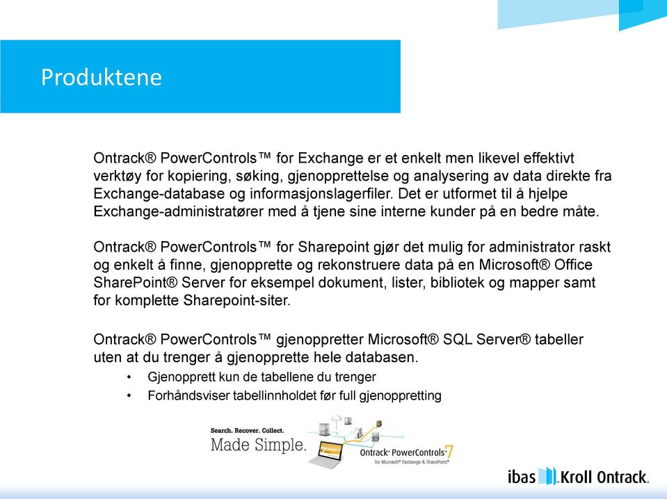 Ontrack PowerControls for Sharepoint gjør det mulig for administrator raskt og enkelt å finne, gjenopprette og rekonstruere data på en Microsoft Office SharePoint Server for eksempel dokument,