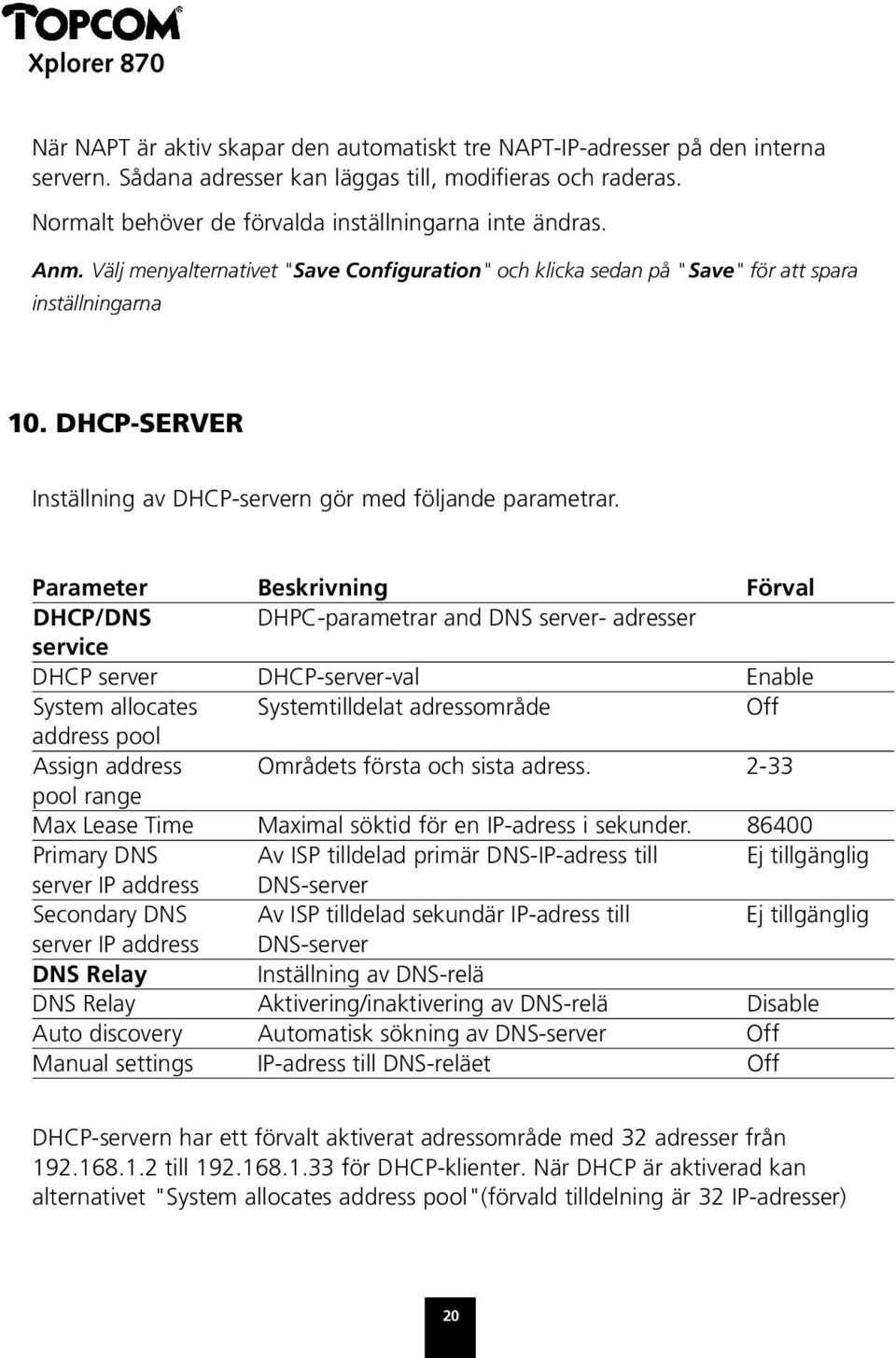 Parameter Beskrivning Förval DHCP/DNS DHPC-parametrar and DNS server- adresser service DHCP server DHCP-server-val Enable System allocates Systemtilldelat adressområde Off address pool Assign address
