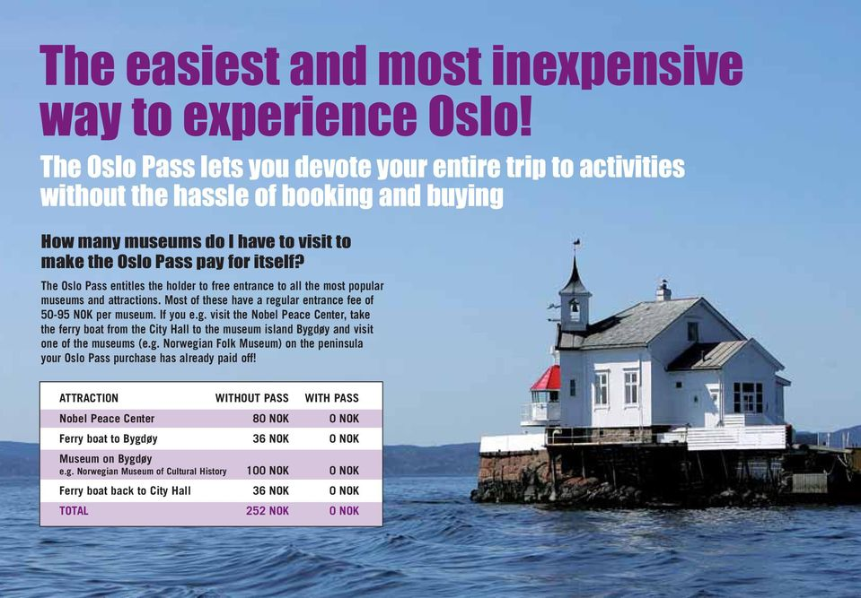 The Oslo Pass entitles the holder to free entrance to all the most popular museums and attractions. Most of these have a regu