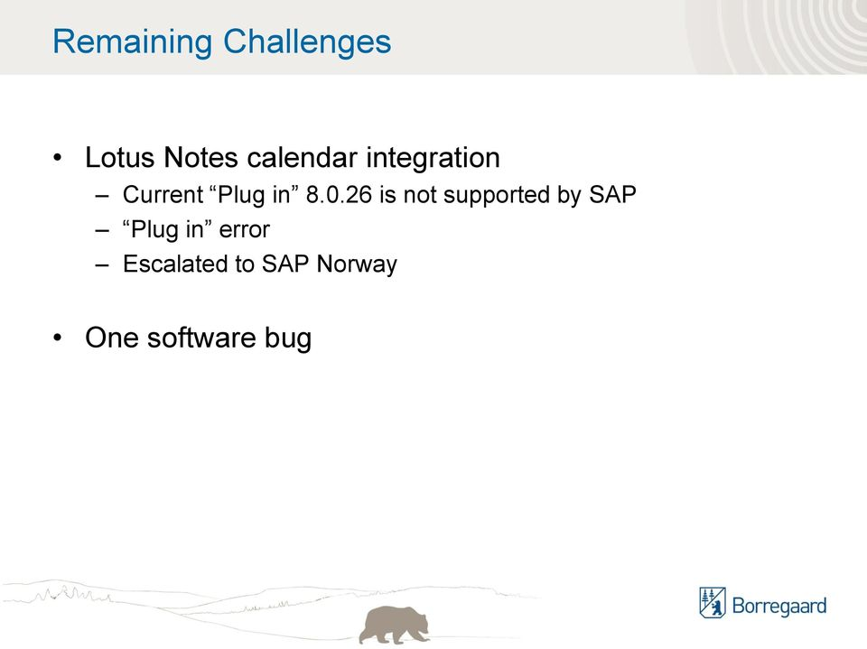 0.26 is not supported by SAP Plug in