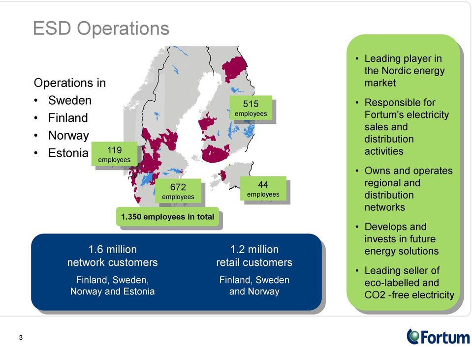 2 million retail customers Finland, Sweden and Norway Leading player in the Nordic energy market Responsible for Fortum's electricity