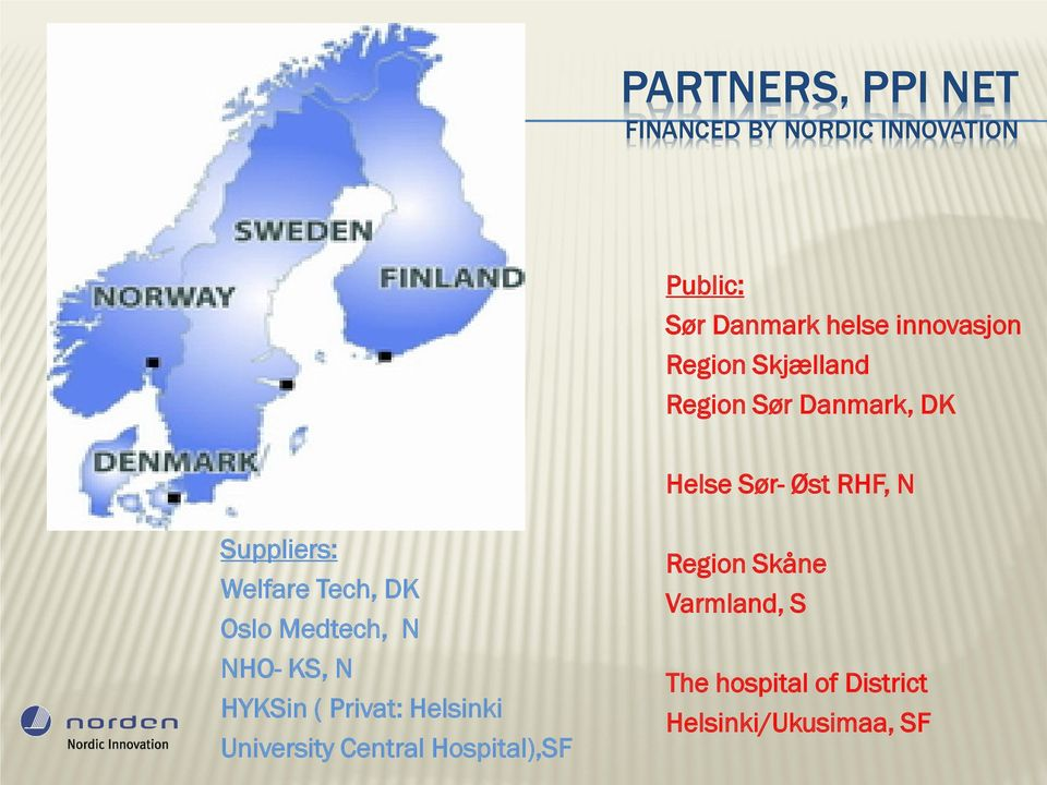 Suppliers: Welfare Tech, DK Oslo Medtech, N NHO- KS, N HYKSin ( Privat: Helsinki