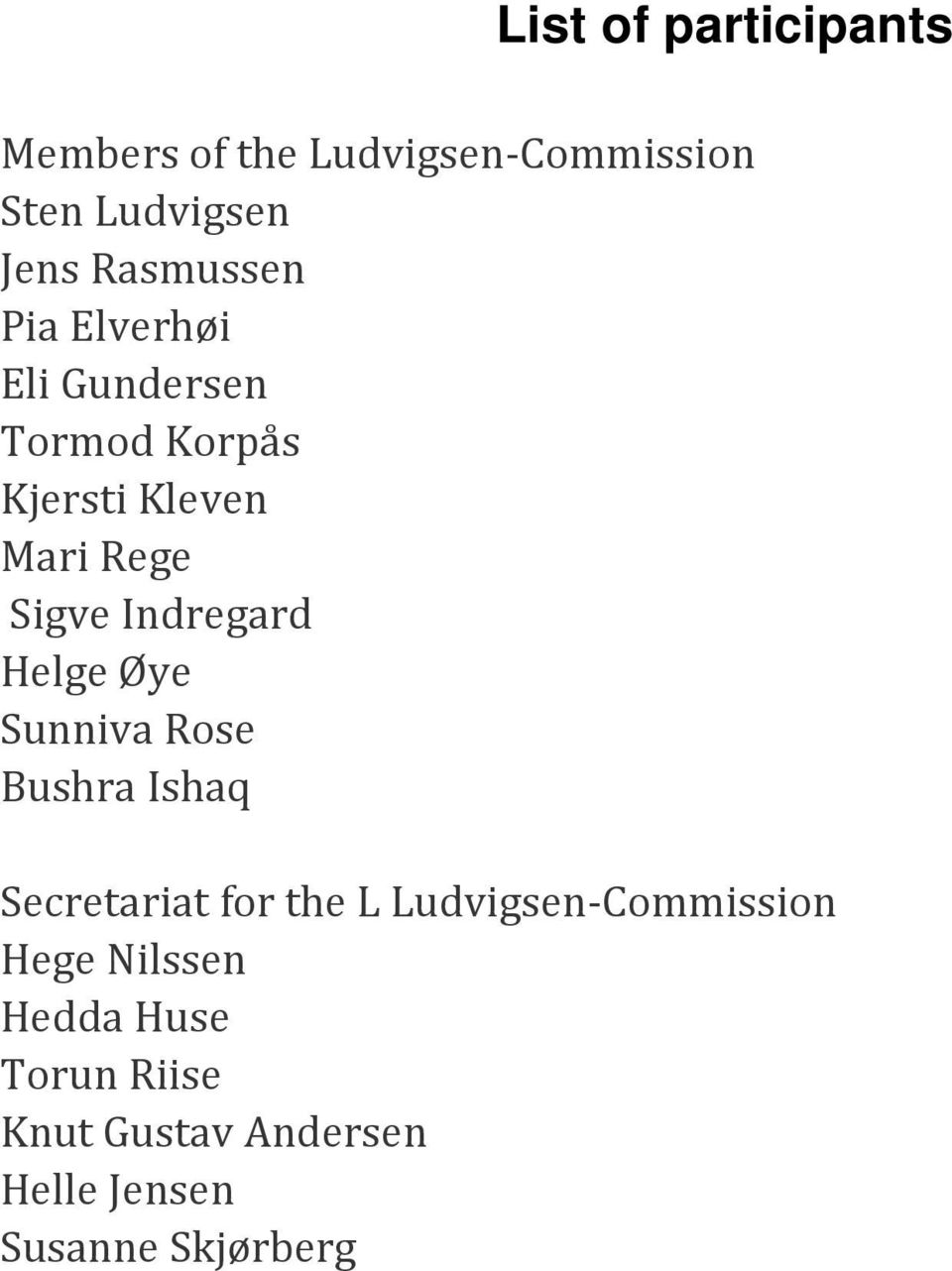 Indregard Helge Øye Sunniva Rose Bushra Ishaq Secretariat for the L
