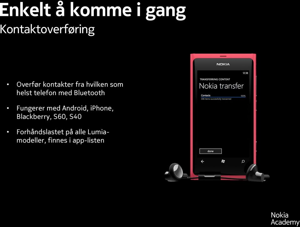 Bluetooth Fungerer med Android, iphone, Blackberry,