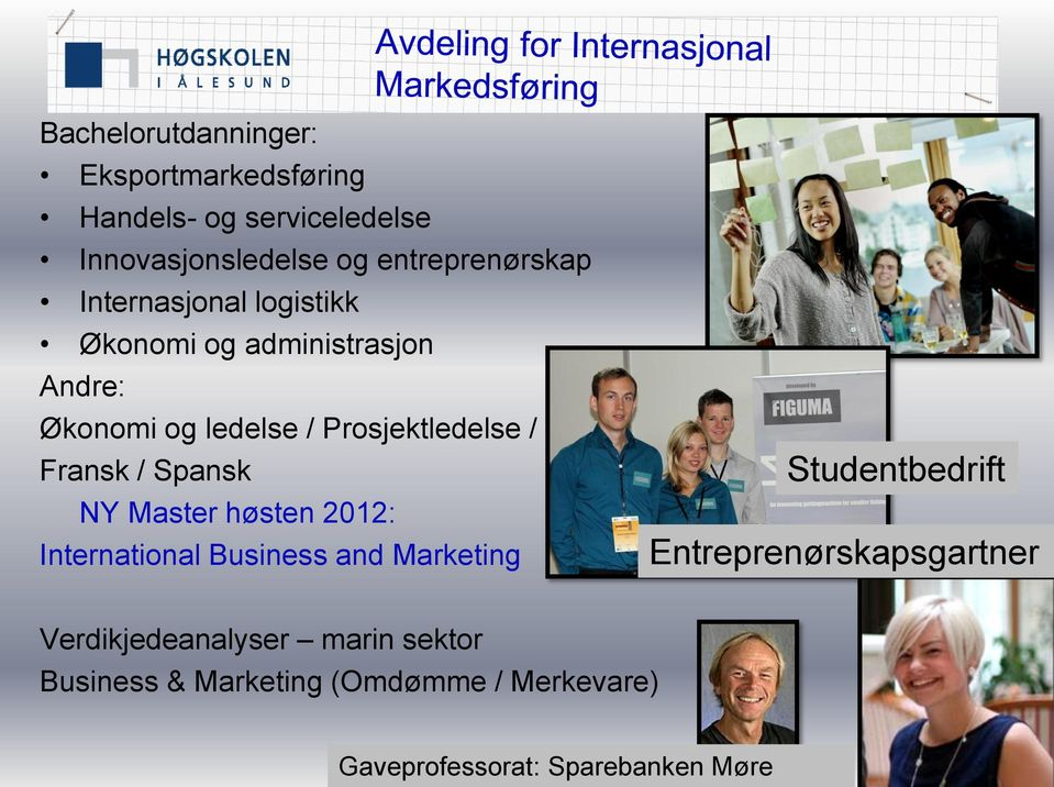 Spansk NY Master høsten 2012: International Business and Marketing Studentbedrift Entreprenørskapsgartner