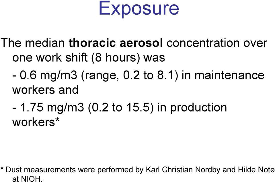 1) in maintenance workers and - 1.75 mg/m3 (0.2 to 15.