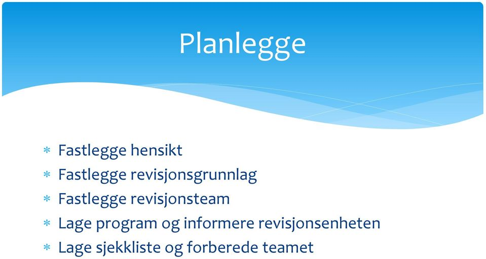 revisjonsteam Lage program og informere