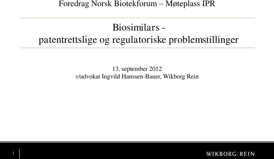 regulatoriske problemstillinger 13.