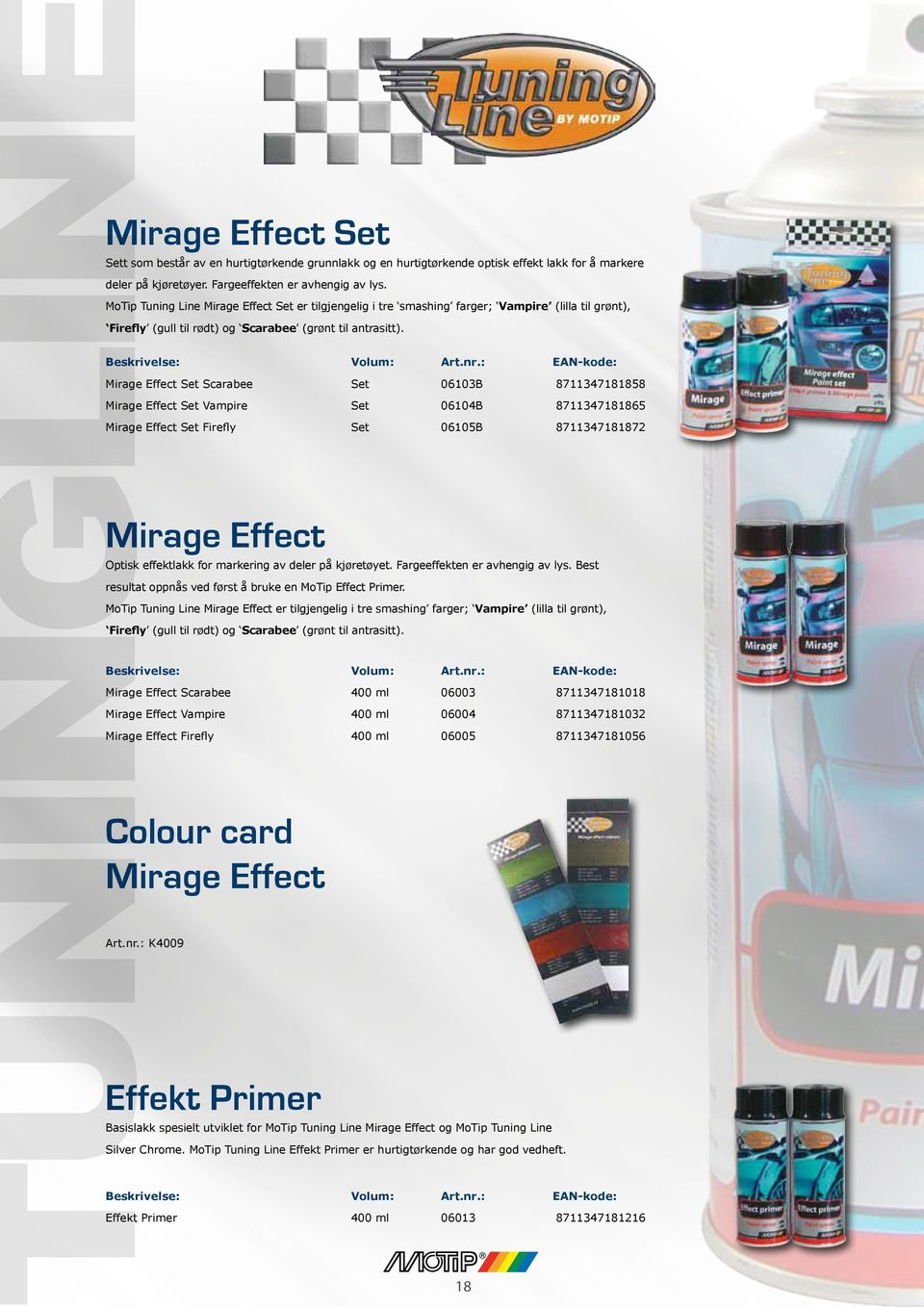 Mirage Effect Set Scarabee Set 06103B 8711347181858 Mirage Effect Set Vampire Set 06104B 8711347181865 Mirage Effect Set Firefly Set 06105B 8711347181872 Mirage Effect Optisk effektlakk for markering