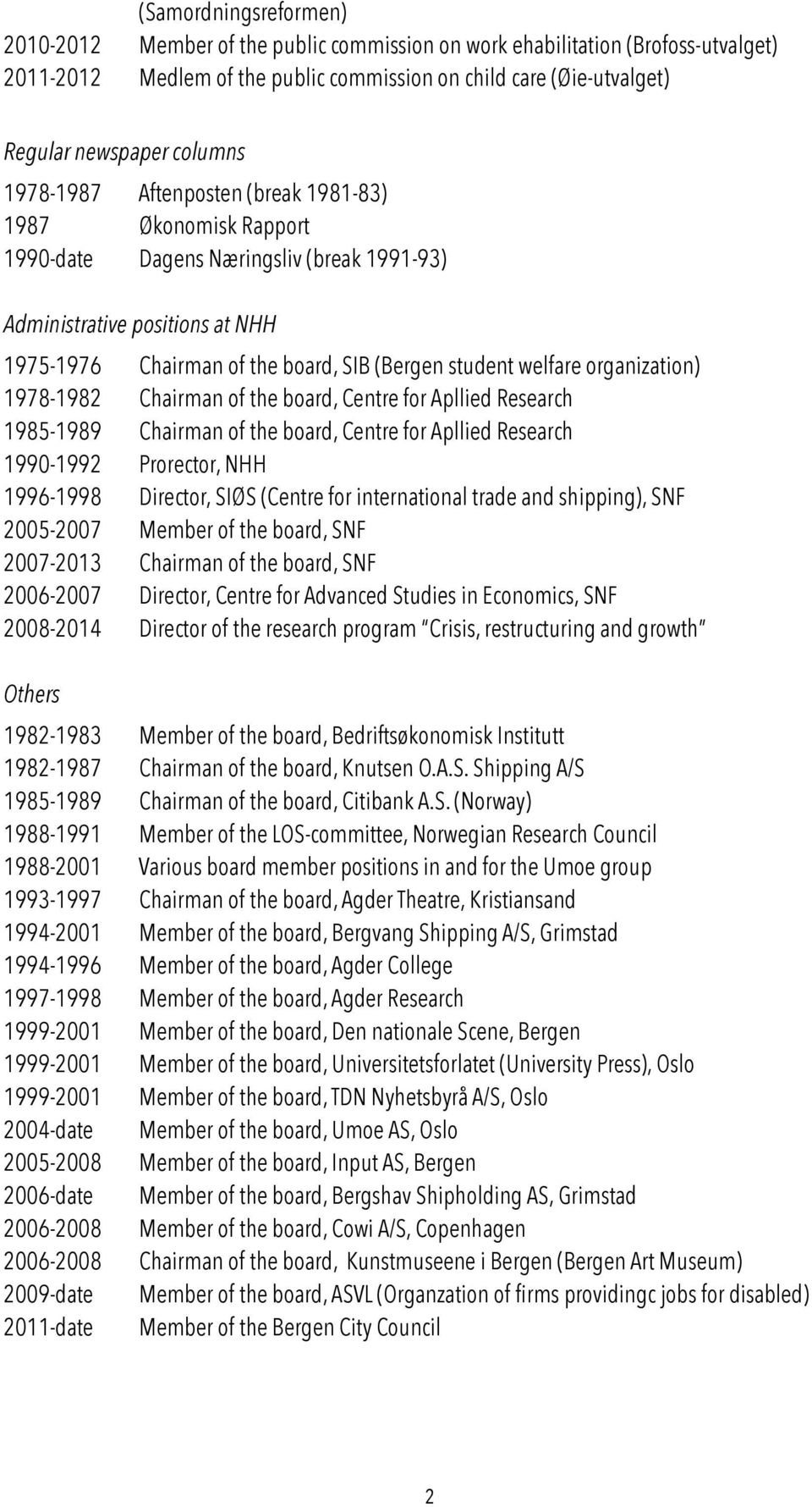 welfare organization) 1978-1982 Chairman of the board, Centre for Apllied Research 1985-1989 Chairman of the board, Centre for Apllied Research 1990-1992 Prorector, NHH 1996-1998 Director, SIØS
